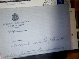 LETTERE DEI CC SQUADRA  INVESTIGATIVA CARABINIERI  IL COMANDANTE  TORINO 1931  HK4886 - Manoscritti