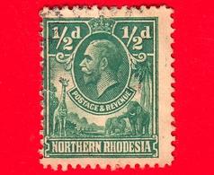 RHODESIA - Nord Rhodesia - Usato - 1925 - Re Giorgio V E Animali - ½ - Rhodesia Del Nord (...-1963)