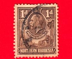 RHODESIA - Nord Rhodesia - Usato - 1925 - Re Giorgio V E Animali - 1 - Rhodesia Del Nord (...-1963)
