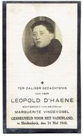 Leopold D'HAENE Geb. Kortrijk 1911 - Gesneuveld Voor Het Vaderland Heulendonk 24 Mei 1940 - Andachtsbilder