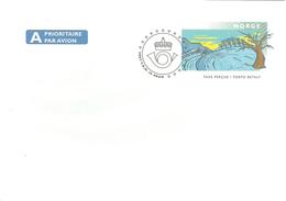 Norway Cover With Imprinted Stamp, Tree In Winter Landscape, Unused - Norwegen