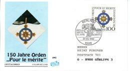 """BRD Schmuck-FDC """"150 Jahre Orden: Pour Le Mérit"""" Mi. 1613 ESSt 7.5.1992 BERLIN 12 - [7] Federal Republic"""