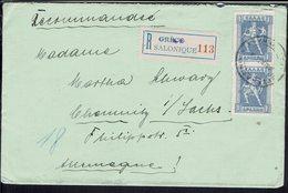 Grèce - Affranchissement 4 D. (avec Verso) Sur Enveloppe Recommandée De Salonique Pour Chemnitz 30-12-1923 - B/TB - - Grecia