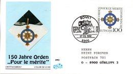"""BRD Schmuck-FDC """"150 Jahre Orden: Pour Le Mérit"""" Mi. 1613 ESSt 7.5.1992 BONN 1 - [7] Federal Republic"""