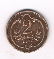 2 HELLER 1914 OOSTENRIJK /1274/ - Autriche