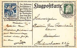 Entier Postal Bavière Pour La Poste Aérienne Oblitération Flugpost Munich - Bavière