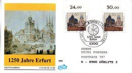 "BRD Schmuck-FDC ""1250 Jahre Erfurt"" Mi. 2x 1611 ESSt 7.5.1992 BONN 1 - [7] Federal Republic"