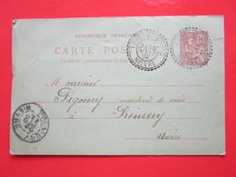 Cp écrite à St-Benin-des-Bois (58) Le 19/03/1902 Oblitérée LURCY-LE-BOURG & PREMERY (58) Timbre Entier Type MOUCHON - Ganzsachen