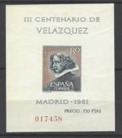 Spagna - 1961 - Nuovo/new MNH - Velazquez - Mi Block N. 15 - Blocchi & Foglietti