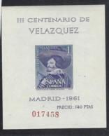 Spagna - 1961 - Nuovo/new MNH - Velazquez - Mi Block N. 16 - Blocchi & Foglietti