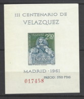 Spagna - 1961 - Nuovo/new MNH - Velazquez - Mi Block N. 17 - Blocchi & Foglietti