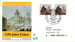 "BRD Schmuck-FDC ""1250 Jahre Erfurt"" Mi. 2x 1611 ESSt 7.5.1992 BERLIN 12 - [7] Federal Republic"
