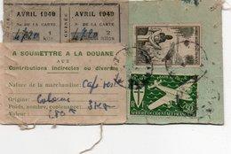 Timbres Fiscaux Fiscal Revenue Carte Avec étiquette Douane Contributions Indirectes Pour Du Café Timbres A.O.F - Fiscaux
