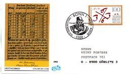 """BRD Schmuck-FDC """"500. Geburtstag Von Adam Riese"""" Mi. 1612 ESSt 7.5.1992 BONN 1 - [7] Federal Republic"""