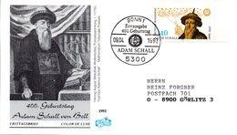 """BRD Schmuck-FDC """"400. Geburtstag Von Johann Adam Schall Von Bell"""" Mi. 1607 ESSt 9.4.1992 BONN 1 - [7] Federal Republic"""