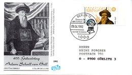 """BRD Schmuck-FDC """"400. Geburtstag Von Johann Adam Schall Von Bell"""" Mi. 1607 ESSt 9.4.1992 BERLIN 12 - [7] Federal Republic"""