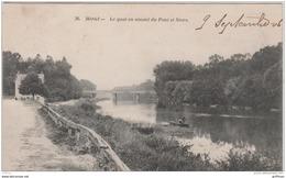 MERIEL LE QUAI EN AMONT DU PONT ET STORS 1906 TBE - Meriel
