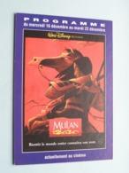 MULAN > Pathé STRASBOURG ( Programme ) 1998 ( Voir Photo > 2 Scan ) ! - Publicidad