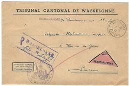 WASSELONNE 3.6.1947 Lettre Recommandée Contre Remboursement Cachet Provisoire Caoutchouc 2 Lignes - Franchise - Marcophilie (Lettres)