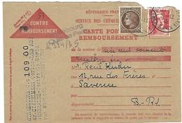 STRASBOURG Quai De Paris 31.12.1946 CP Contre Remboursement, Cachet De Recommandation Provisoire Linéaire  2 Lignes - 1921-1960: Periodo Moderno