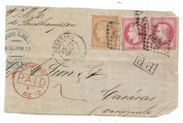 - GIRONDE - BORDEAUX - GC.532/N°32x2 + N°38 - P.P. Noir + Càd T.17 - Destin. Devant - 1863-1870 Napoleon III Gelauwerd