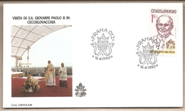 Cecoslovacchia - Busta FDC Con Serie Compledta E Con Annullo Speciale: Visita Di S.S. Giovanni Paolo II - 1990 - Cecoslovacchia