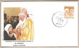 Albania - Busta Con Annullo Speciale: Visita Di S.S. Giovanni Paolo II - 1993 - Albania