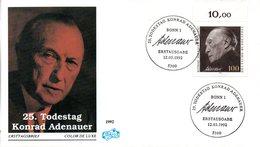 """BRD Schmuck-FDC """"25.Todestag Von Konrad Adenauer"""" Mi. 1601 ESSt 12.3.1992 BONN 1 - [7] Federal Republic"""
