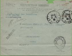 Lettre Du Contôleur Des Bénéfices De Guerre, Franchise,  Cachet Imprimés , Besançon à Charquemont 19/09/20 - Marcophilie (Lettres)