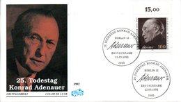 """BRD Schmuck-FDC """"25.Todestag Von Konrad Adenauer"""" Mi. 1601 ESSt 12.3.1992 BERLIN 12 - [7] Federal Republic"""