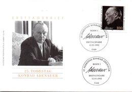 "BRD Sonder-FDC ""25.Todestag Von Konrad Adenauer"" Mi. 1601 ESSt 12.3.1992 BONN 1 - [7] Federal Republic"
