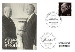 """BRD Gedenk-FDC """"25.Todestag Von Konrad Adenauer"""" Mi. 1601 ESSt 12.3.1992 BONN 1 - [7] Federal Republic"""