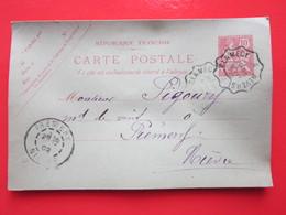 Cp écrite GARNIER à CORVOL D'EMBERNARD (58) Le 25/08/1902 Oblitérée à CLAMECY & PREMERY 58 Timbre Entier Type MOUCHON - Ganzsachen