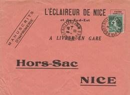 SEMEUSE 35C SUR ENVELOPPE HORS SAC L ECLAIREUR DE NICE ROQUEBILLERE 4/4/1939 - Lettres & Documents