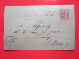 Cp écrite FACTEUR à CHAMPLEMY (58) Le 6/02/1902 Oblitérée à CHAMPLEMY & PREMERY (58) Timbre Entier Type MOUCHON - Ganzsachen
