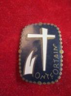 Insigne De Pèlerinage à épingle/ ONFORTAIN/Croix Stylisée / Bronze Cloisonné émaillé/ Mi-XXéme              CAN833 - Religione & Esoterismo