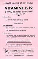 Buvard Vitamine B12 Du Laboratoire Neotherap 83 R St Charles Paris 15 - Produits Pharmaceutiques
