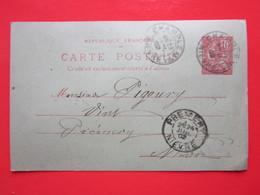 Cp écrite LEON GUIBERT à CHAMPLEMY (58) Le 24/07/1902 Oblitérée à CHAMPLEMY & PREMERY (58) Timbre Entier Type MOUCHON - Ganzsachen