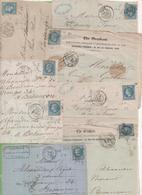 8 Devant De Lettre Avec Napoléon Lauré Type I Et II, Période 06/1869 à 04/1870 - Marcophilie (Lettres)