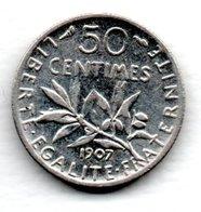 France / Gad 420 / 50 Centimes 1907 / TB+ - France