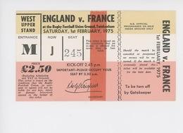 *ticket - Rugby England France Février 1975 Rugby Football Union Ground - Tickenham (14X8)* - Tickets D'entrée