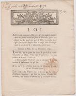Rare Loi 1790 Numismatique Concernant Les  Assignats Avec Cachet Rouge Royal N° 254 - Documents Historiques
