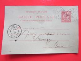 Cp écrite ROBLIN CORDONNIER à CHAMPLEMY (58) Le 18/10/1901 Oblitérée à CHAMPLEMY & PREMERY 58 Timbre Entier Type MOUCHON - Ganzsachen
