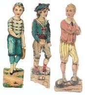 924 - LOT 3 DECOUPIS GARCONS HALTERE , JEU DE PAUME , Matelot . HAUTEUR 11 CM . SCANS RECTO VERSO - Victorian Die-cuts