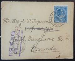 Petite Enveloppe Juillet 1915 MONTENEGRO Vers Vancouver CANADA Via PARIS - Poststempel (Briefe)