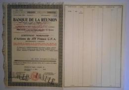 ACTION -BANQUE De La REUNION -Certificat Nominatif Actions 375 Francs C.F.A. Saint Denis De La Réunion 9/03/1953 - Banque & Assurance