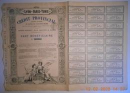 ACTION - CREDIT PROVICIAL - LYON - PARIS - TUNIS - Décembre 1889 - Banque & Assurance
