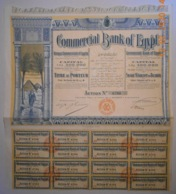 ACTION - COMMERCIAL BANK Of EGYPT - Banque Commercial D'Egypte - Alexandrie Vers 1920 - Banque & Assurance
