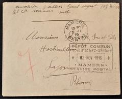 Petite Env Franchise Militaire Cachet Dateur De Vaguemestre MAMERS SERVICE POSTAL DEPÔT COMMUN 115e 315e Infanterie - Poststempel (Briefe)