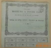 ACTION - Compagnie Des MOTEURS A FOYER  CLOS - Vers 1867 - Industrie